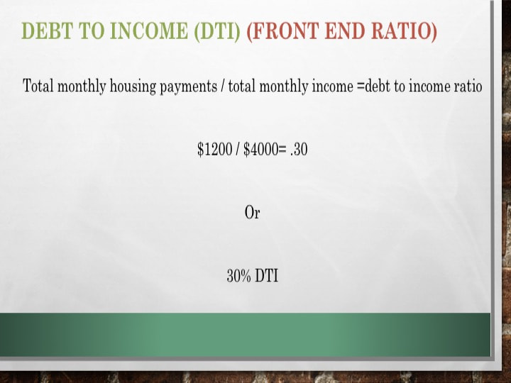 Front end housing ratio DTI calculation example